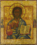 Fine Art - Painting, Russian:Antique (Pre-1900), A RUSSIAN ICON OF CHRIST PANTOCRATOR. 19th century. 13 x 10-1/2inches (33.0 x 26.7 cm). ...