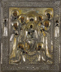 Fine Art - Painting, Russian:Other, A RUSSIAN ICON OF THE MOTHER OF GOD ENTHRONED. Late 19th-early 20thcentury. 13-1/2 x 11-1/4 inches (34.3 x 28.6 cm). ...
