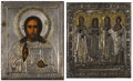 Fine Art - Painting, Russian:Antique (Pre-1900), TWO RUSSIAN ICONS . 19th century. 7 x 5-3/4 inches (17.8 x 14.6 cm)larger. ... (Total: 2 Items)