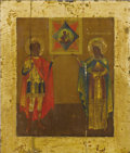 Fine Art - Painting, Russian:Antique (Pre-1900), A RUSSIAN ICON OF THE MOTHER OF GOD OF THE BURNING BUSH . 19thcentury. 12 x 10-1/4 inches (30.5 x 26.0 cm). ...
