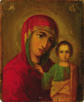 Fine Art - Painting, Russian:Antique (Pre-1900), A RUSSIAN ICON OF THE KAZAN MOTHER OF GOD . 19th century. 13-1/2 x11-1/4 inches (34.3 x 28.6 cm). ...