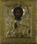 Fine Art - Painting, Russian:Antique (Pre-1900), A RUSSIAN ICON OF CHRIST PANTOCRATOR. 19th century. 12-1/4 x 10-3/4inches (31.1 x 27.3 cm). ...