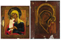 Fine Art - Painting, Russian:Antique (Pre-1900), TWO RUSSIAN ICONS OF THE MOTHER OF GOD. Late 18th and 19th century.12 x 10-1/2 inches (30.5 x 26.7 cm) larger. ... (Total: 2 Items)