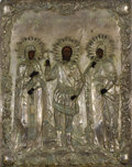 Fine Art - Painting, Russian:Antique (Pre-1900), A LARGE RUSSIAN ICON OF SAINT PELEGAYA, SAINT NIKITA, AND SAINTAKILINA. 19th century. 21 x 16-1/2 inches (53.3 x 41.9 cm). ...