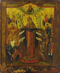 "Fine Art - Painting, Russian:Antique (Pre-1900), A RUSSIAN ICON OF THE MOTHER OF GOD ""JOY TO ALL WHO GRIEVE"". 19thcentury. 19-1/2 x 16-1/4 inches (49.5 x 41.3 cm). ..."