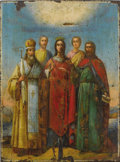 Paintings, A RUSSIAN ICON OF SAINT ALEXANDRA. 19th century. 21 x 15-1/2 inches (53.3 x 39.4 cm). ...
