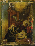 Fine Art - Painting, Russian:Antique (Pre-1900), A RUSSIAN ICON OF THE NATIVITY. Mid 19th century. 25 x 19-3/8inches (63.5 x 49.1 cm). ...