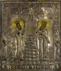 Fine Art - Painting, Russian:Antique (Pre-1900), A RUSSIAN ICON OF SAINT NAUM AND SAINT PORPHIRIY. 19th century. 21x 17-3/4 inches (53.3 x 45.1 cm). ...