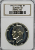 Proof Eisenhower Dollars, 1974-S $1 Silver PR69 Cameo NGC. NGC Census: (20/0). PCGSPopulation (3/0). Mintage: 1,306,579. Numismedia Wsl. Price forN...