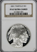 Modern Issues: , 2001-P $1 Buffalo Silver Dollar PR67 Ultra Cameo NGC. NGC Census:(0/0). PCGS Population (48/10399). Numismedia Wsl. Price...