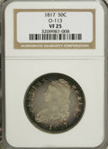 Bust Half Dollars: , 1817 50C VF25 NGC. O-113. NGC Census: (6/317). PCGS Population(11/305). Mintage: 1,215,567. Numismedia Wsl. Price for NGC...