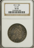 Bust Half Dollars, 1812 50C VF35 NGC. O-107. NGC Census: (20/583). PCGS Population(41/504). Mintage: 1,628,059. Numismedia Wsl. Price for NG...