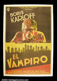 The Ghoul (Gaumont, 1933). Argentinian One Sheett. Boris Karloff stars as an Egyptologist who is buried with a jewel tha...
