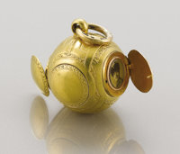 A RARE RUSSIAN GOLD PENDANT Marked Fabergé, Moscow, 1908-17, 72 Zolotnik 1-3/8 inches (3.5 cm) long, including...