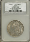 Bust Half Dollars: , 1818/7 50C Large 8--Improperly Cleaned--NGC. AU Details. O-101.PCGS Population (4/48). NGC Census: (0/0). (#6115)...