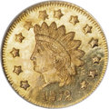 California Fractional Gold, 1872 $1 Indian Round 1 Dollar, BG-1207, R.4, MS65 Prooflike NGC....