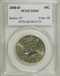 Kennedy Half Dollars: , 2000-D 50C MS66 PCGS. PCGS Population (121/60). NGC Census:(126/42). Numismedia Wsl. Price for NGC/PCGS coin in MS66: $21...