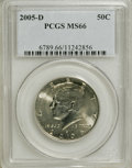 Kennedy Half Dollars, 2005-D 50C MS66 PCGS. PCGS Population (59/29). NGC Census: (100/92). Numismedia Wsl. Price for NGC/PCGS coin in MS66: $22....