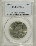 Kennedy Half Dollars: , 1990-D 50C MS66 PCGS. PCGS Population (120/11). NGC Census:(52/16). Mintage: 20,096,242. Numismedia Wsl. Price for NGC/PCG...