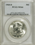 Kennedy Half Dollars: , 1968-D 50C MS66 PCGS. PCGS Population (262/12). NGC Census:(115/9). Mintage: 246,951,936. Numismedia Wsl. Price for NGC/PC...