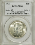 Kennedy Half Dollars: , 1965 50C MS66 PCGS. PCGS Population (84/10). NGC Census: (35/6).Mintage: 65,879,368. Numismedia Wsl. Price for NGC/PCGS co...