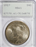 Peace Dollars: , 1927 $1 MS61 PCGS. PCGS Population (189/4305). NGC Census:(246/2665). Mintage: 848,000. Numismedia Wsl. Price for NGC/PCGS...