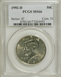 Kennedy Half Dollars: , 1992-D 50C MS66 PCGS. PCGS Population (313/147). NGC Census:(38/17). Mintage: 17,000,106. Numismedia Wsl. Price for NGC/PC...