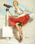Pin-up and Glamour Art, GIL ELVGREN (American 1914 - 1980). What a View, 1957. Oilon canvas. 30 x 24 in.. Signed lower right. ...