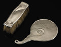 Silver Smalls:Other , AN AMERICAN SILVER HAND MIRROR AND BRUSH . Whiting ManufacturingCompany, New York, New York, circa 1890. Marks: (W with gri...(Total: 2 Items)