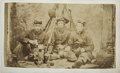 Military & Patriotic:Civil War, CDV Three Union Civil War Enlisted Men with Mess Kits, Muskets, and Canteens. Copied from tintype of soldiers posing in Sayl...