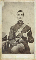 Military & Patriotic:Civil War, CDV Union Civil War Enlisted Man Holding Fife. Unidentified man sitting in photographer's studio with kepi lying on table ne...