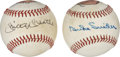 Autographs:Baseballs, Mickey Mantle and Duke Snider Single Signed Baseballs with Art Lot of 2....