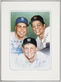Baseball Collectibles:Others, Willie Mays, Mickey Mantle, and Duke Snider Multi-Signed Print....