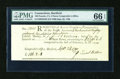 Colonial Notes:Connecticut, Connecticut September 23, 1790 Ralph Pomeroy Comptroller ReceiptPMG Gem Uncirculated 66 EPQ....
