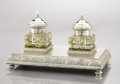 Decorative Arts, Continental:Other , A SILVER AND SILVER GILT INKSTAND. Ivan Petrovich Khlebnikov,Moscow, Russia, circa 1910. Marks: (right facing kokoshnik), (...