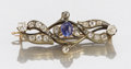 Other, A RUSSIAN DIAMOND AND SAPPHIRE PIN. Attributed to Lorie, Moscow.0-3/4 x 1-1/8 inches (1.9 x 2.9 cm). Accompanied with origi...