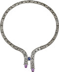 Estate Jewelry:Necklaces, Pink & Blue Sapphire, Diamond, White Gold Necklace. ...