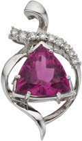 Estate Jewelry:Pendants and Lockets, Pink Tourmaline, Diamond, White Gold Pendant. ...