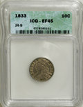 Bust Dimes: , 1833 10C XF45 ICG. JR-9. NGC Census: (3/223). PCGS Population(33/174). Mintage: 485,000. Numismedia Wsl. Price for NGC/PC...