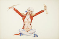 ALBERTO VARGAS (American 1896 - 1982) Vargas Girl, Playboy pin up illustration, July 1974 Watercolor