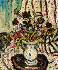 Fine Art - Painting, Russian:Contemporary (1950 to present), SASHA MOLDOVAN (Russian/American, 1901-1982). Flowers, 1957.Oil on canvas laid on masonite. 22 x 18 inches (55.9 x 45.7...