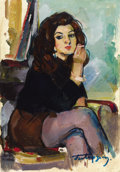 Fine Art - Painting, Russian:Contemporary (1950 to present), BOYUK AGA MIRZAZADE (Azerbaijani, 20th Century). Woman withCigarette, 1974. Oil on artist board. 21-1/2 x 15-3/4 inches...