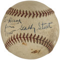 Autographs:Baseballs, Gabby Street Single Signed Baseball. ...