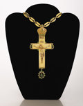 Other, A RUSSIAN GOLD AND DEMANTOID GARNET CROSS. Leopold CarlovichSaefftigen, St. Petersburg, 1858-1864,. Marks: Signed and stamp...