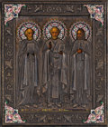 Fine Art - Painting, Russian:Antique (Pre-1900), A RUSSIAN ICON OF SAINT NICHOLAS, SAINT NICHOLAS THEMIRACLE-WORKER, AND SAINT GREGORY. Ovchinnikov, Moscow, 1880-1890.12 x...