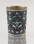 Decorative Arts, Continental:Other , A SILVER GILT AND CLOISONNÉ ENAMEL CUP. Maker unidentified, Moscow,Russia, 1950. Marks: (delta)(right facing kokoshnik) 8...