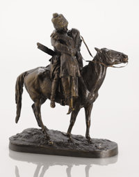 A RUSSIAN BRONZE GROUP OF THE COSSACK'S FAREWELL Cast from a model by Evgeni Alexandrovich Lanceray, last quarter