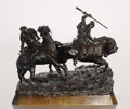 Fine Art - Sculpture, European:Antique (Pre 1900), A RUSSIAN BRONZE GROUP OF TWO HORSEMEN. Cast from a model by Vasilii Grachev, late 19th century. Signed in Cyrillic, with Wo...