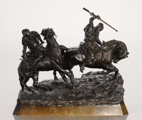 A RUSSIAN BRONZE GROUP OF TWO HORSEMEN Cast from a model by Vasilii Grachev, late 19th century Signed in Cyrill