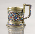 Decorative Arts, Continental:Other , A SILVER GILT AND CLOISONNÉ ENAMEL CUP. Maker unidentified, Moscow,Russia, circa 1900. Marks: 84 (left facing kokshnik)...